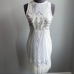 NYE Ivory and Silver Sequin Beaded Fringe Dress